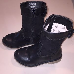Girls black leather and suede boots